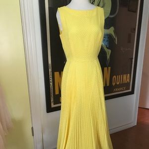 Yellow hippie VTG polka dot sweep prairie dress-M